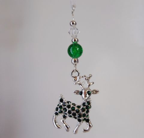 Reindeer with Green Rhinestones, Crackle Bead & Crystal - Xmas Tree Decoration